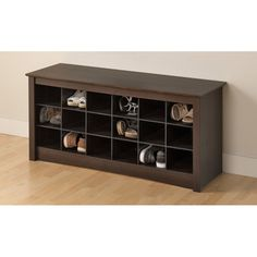@Overstock.com - Everett Espresso Shoe Storage Cubbie Bench - Get rid of those shoes cluttering up your hallway with this durable storage cubbie bench. Eighteen cubbie holes across the piece provide ample room for storage of your family's shoes, and its flat top serves as a bench, helping you get ready.  http://www.overstock.com/Home-Garden/Everett-Espresso-Shoe-Storage-Cubbie-Bench/6720437/product.html?CID=214117 $141.98