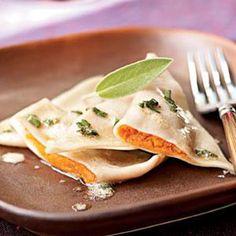 Sweet Potato Ravioli with Lemon-Sage Brown Butter | MyRecipes.com