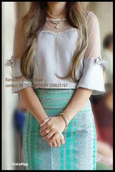 Designer Blouse Patterns, Designer Dresses, Traditional Dresses Designs, Myanmar Dress Design, Myanmar Traditional Dress, Batik Fashion, Young Fashion, Sweet Dress, Saree Blouse Designs
