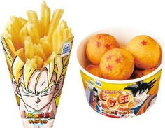 """I never considered Goku a """"healthy"""" eater anyway. (Japan's Mini Stop Stores Unveil 'DragonBall Z' Super Saiyan Fries And More Snacks - ComicsAlliance) Dragon Ball Z, Dragon Party, Super Saiyan Hair, Japanese Food, Japanese Things, Japanese Culture, Street Food, Mini, Nom Nom"""