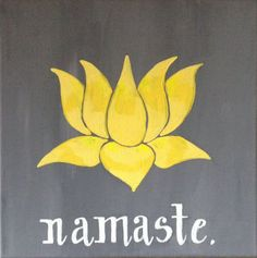 12x12 $25/--  Made to order Lotus Namaste Acrylic Painting on Canvas by MWstyle