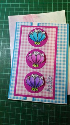 Card made using a flower from Wplus9 Doodle buds stamp set