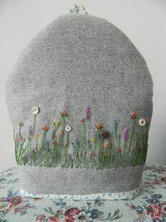lambs wool felt embroiderd tea cosy. £45.00, via Etsy.
