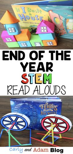 "End of the Year Read Alouds and STEM Challenges (STEM Activities) Four End of the Year Read Alouds and STEM Challenges Your Students will Love: What are you teaching at the end of the year? ""Make"" memories with your students and keep them engaged up until End Of Year Activities, Library Activities, Steam Activities, Science Activities, Kindergarten Stem, Kindergarten Lesson Plans, Kindergarten Library Lessons, 3d Figures, Elementary Library"