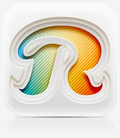 """Reach Network App Icon shows off a lot of detail in a small space. The subtle textures, 3D layering, and color gradients make this """"R"""" look fantastic."""