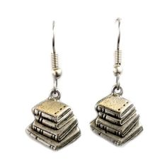Silver Book Stack Earrings ($14) ❤ liked on Polyvore featuring jewelry, earrings, silver jewelry, earring jewelry, silver jewellery, silver earrings and stackers jewelry