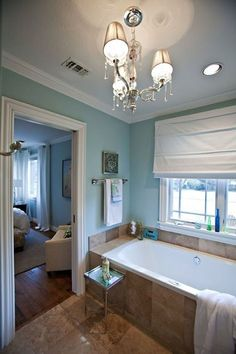 Sherwin Williams Rainwashed is 2 bumps up the palette from Halcyon Green.  Could be great in the master bedroom.  Not sure yet!