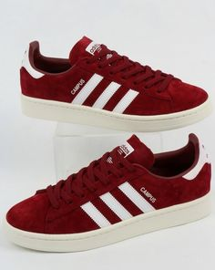 new style 0c52e 392b7 Adidas Campus Trainers BurgundyWhite Adidas Campus, Suede Material, Retro  Shoes, Trainers