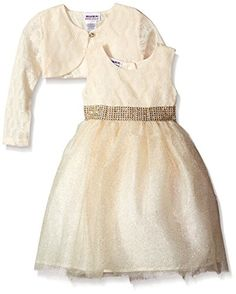 Blueberi Boulevard Little Girls Long Sleeve Dress Crochet Shrug with Tulle Skirt Cream 2T >>> Find out more about the great product at the image link.