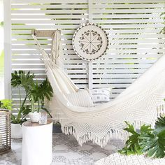 Beautiful Bohemian Hammock with lace design. Create your dream space where you can unwind and relax in a stylish setting indoors or out. Rattan Furniture, Outdoor Furniture, Outdoor Decor, Outdoor Rooms, Boho Chic, Boho Style, Small Outdoor Spaces, Relax, Trendy Furniture