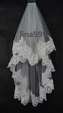2 Layer Elbow Length Lace Sequin Wedding Bridal Veil Ivory + Comb