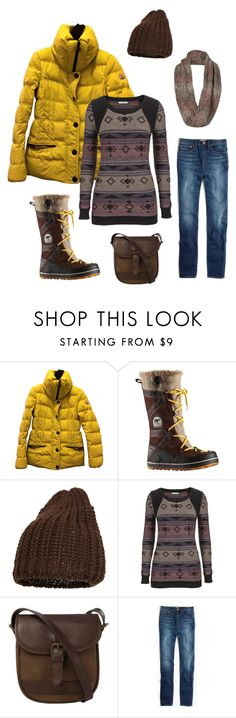 """""""Untitled #271"""" by northernlights22 ❤ liked on Polyvore featuring Moncler, SOREL, Magid, maurices, DUBARRY, Madewell and prAna"""