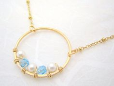 Gold Circle Necklace - Swarovski Blue Crystals and Pearls Wire Wrapped - Gold Filled Jewelry