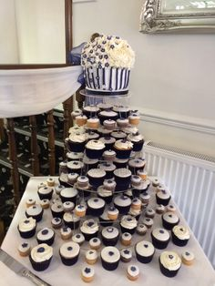 Giant wedding cupcake and cupcakes