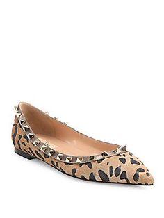 733b3456dd27 Valentino Garavani - Rockstud Leopard-Print Calf Hair Point-Toe Flats
