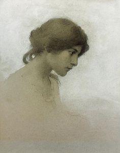Head of a Girl by Franz Dvorak, 1862-1927, American born in the Czech Republic.