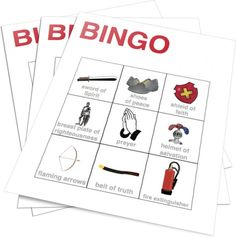 Armor of God Bingo- this one is for sale but it would be super easy to make
