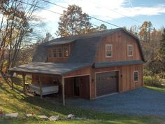 Two-story gambrel frame hobby shop: 30x40x10 with 10×40 lean-to, T-1-11 siding, shingle roof, (2) 16′ shed dormers, pent overhang