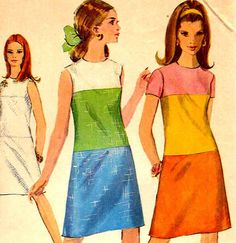 Mod Color Block A Line Dress Sewing Pattern by MaddieModPatterns
