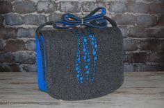 Blue drops felt bag with engraved dedication :) Torba z filcu - listonoszka spersonalizowana z grawerowaną dedykacją. $46