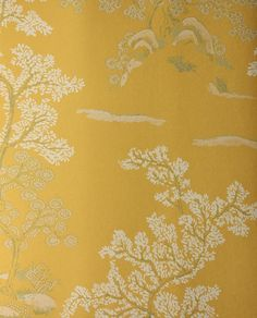 Oriental Tree Wallpaper Yellow wallpaper with white and green chinese tree design