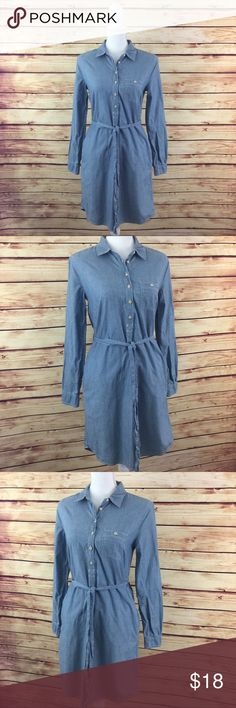 Gap Blue Chambray 1/2 Button Down Shirt Dress 🔘30% Off 2+Items 🔘Specifically Marked Items 👉🏻 6 for $25 🔘Kids Bundle Special 👉🏻 5 for $18  ▫️Brand: Gap ▫️Size: XS ▫️Material: Cotton ▫Condition: Preowned ▫️Flaws: None  ▫️Description:  •1/2 Button down w collar •Long sleeves  •Tie waist  ▪️NO Trade/Hold ▪️Next Day Shipping ▪️Smoke Free/Kitty Friendly Home GAP Dresses
