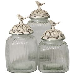 Casa Cortes Antique White 'Songbird' 3-piece Glass Canister Set | Overstock.com Shopping - The Best Deals on Storage Canisters