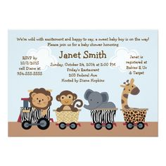 Safari Express/Animal Train Baby Shower Invitation