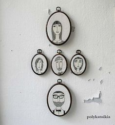 Custom family portrait series embroidered over cotton: so cool! | By Polykatoiki