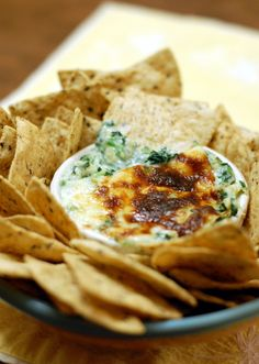 Spinach and artichoke dip doesn't have to be full of cream cheese and mayo. This version is more like a fondue from It's Not Easy Eating Green.
