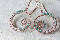 Geen Agate Earrings  Wire Wrapped Copper Hoop by CookOnStrike, $26.00