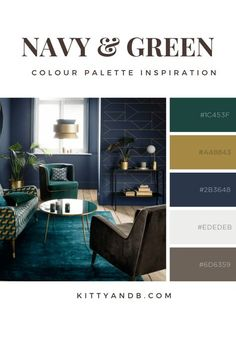 Navy and Green colour palette. Today we're talking inspiration for a green living room. Green is a really versatile colour to decorate your home with. But, which colours and tones work well? What kind Blue And Green Living Room, Navy Blue Living Room, Green Rooms, Navy And Green, Living Room Decor Green, Green Room Colors, Navy Blue Walls, Blue Rooms, Interior Design Living Room