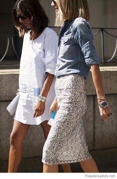 White dress, glitter skirt and denim shirt