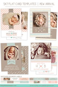 Adorable Birth Announcement Photoshop Templates by Hazy Skies Designs.