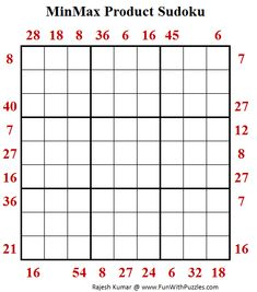 MinMax Product Sudoku Puzzle (Fun With Sudoku World Puzzle, Sudoku Puzzles, Train Your Brain, Puzzle Board, Brain Teasers, Riddles, Fun, Mind Games, Puzzle