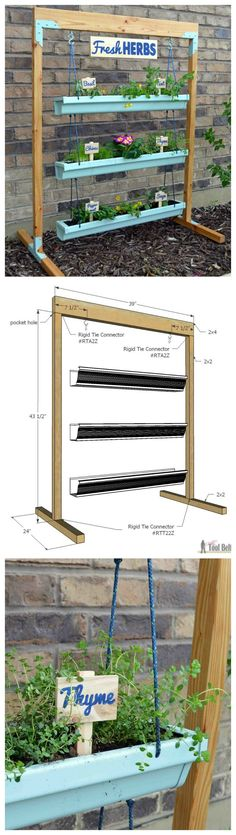 Urban Garden Design How to Build a Hanging Gutter Planter and Stand - Spice up your dinners with fresh herbs! Build a simple stand to make a hanging gutter planter and fresh herb garden. Free plans and tutorial. Outdoor Projects, Garden Projects, Pallet Projects, Garden Tools, Woodworking Projects, Diy Projects, Garden Beds, Home And Garden, Garden Sink