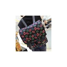 Lip-Print Buckled Canvas Backpack ($33) ❤ liked on Polyvore