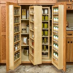 If you don't have the square footage for a walk-in pantry, the door-mounted shelves and swing-out racks take advantage of vertical space to really amp up your storage factor. Description from callierandthompson.com. I searched for this on bing.com/images