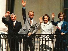 From left to right: Nicolae Ceaușescu, Jimmy Carter, Elena Ceaușescu, Rosalynn Carter. Because Ceaușescu had broken ties with the USSR, the US thought he could be a useful puppet in breaking the Warsaw Pact. But he used them more than they used him, and his atrocities were never questioned.