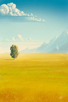 Fantasy Landscapes by Roberto Nieto - yellow & turquoise. Fantasy Landscape, Landscape Art, Landscape Paintings, Fantasy Art, Landscape Rocks, Landscape Lighting, Watercolor Landscape, Landscape Design, Environment Concept Art