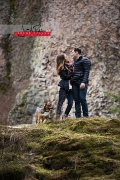 "Rachel and Christian's ""fur child"" Attila joined the mix for a shot or two. #portrait #engagement #couple #spokane #washington #outdoors #starterfamily #dog #pet"