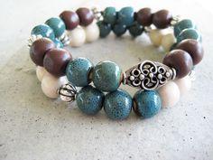 This beautifully handmade bead bracelet set is a stylish addition to any wardrobe.