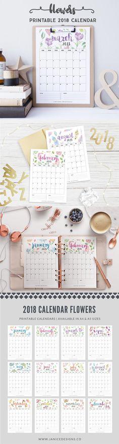 2018 Printable Calendar: Flowers