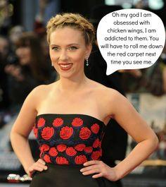 Scarlett Johansson- Addicted to Wings!