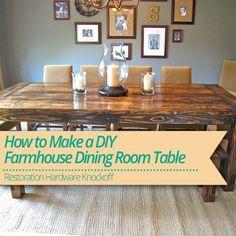 Learn How to Make a #DIY #Farmhouse Dining Room #Table!
