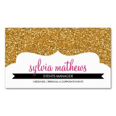 BUSINESS CARD stylish glitter sparkle gold pink. This is a fully customizable business card and available on several paper types for your needs. You can upload your own image or use the image as is. Just click this template to get started!