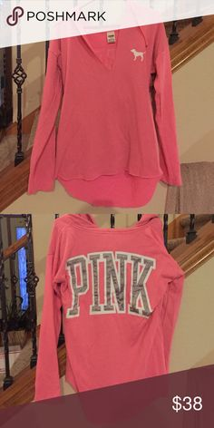 PINK hoodie Oversized lounging hoodie, bright pink, and somewhat high/low waistline PINK Victoria's Secret Tops Sweatshirts & Hoodies