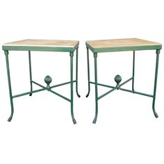 Pair of Stone and Iron Garden Tables