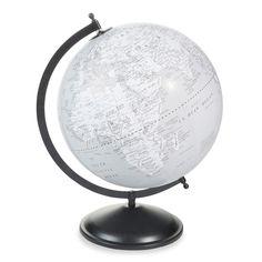 Globo terrestre de plástico gris Al. 47 cm. HUDSON