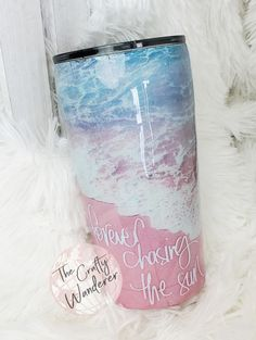 Diy Tumblers, Custom Tumblers, Glitter Tumblers, Mom Tumbler, Girls Tumbler, Short Friendship Quotes, Beach Cups, Tumblr Cup, Pink Sand Beach